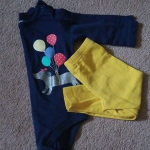 Baby girl 9 months blue shirt with yellow leggings